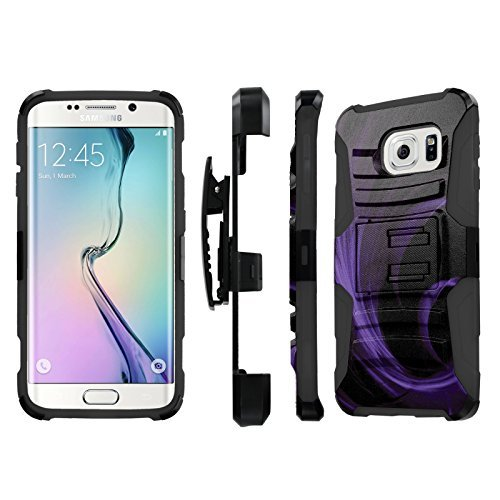 NakedShield Samsung Galaxy [S6 Edge] (Purple Feather) Combat Tough Holster Kickstand Armor Phone Case
