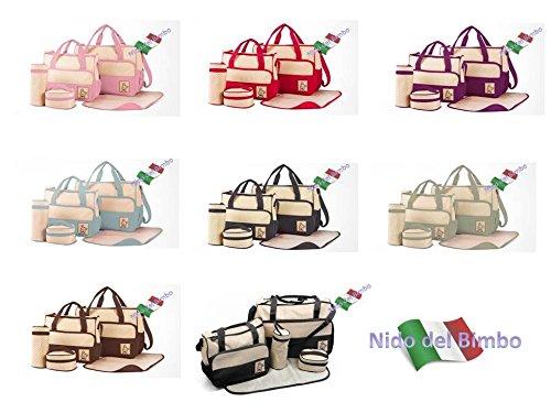 Preisvergleich Produktbild Nido del Bimbo–Set aus 5 Wickeltaschen + 2. Tasche + Wickelunterlage + Flaschenhalter blau