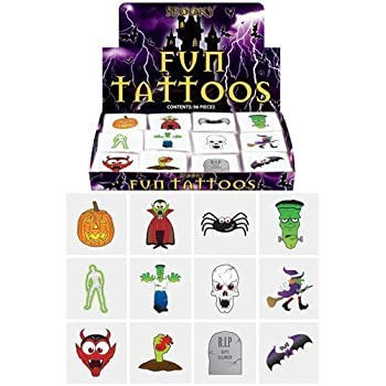Henbrandt 24 Halloween Tattoos / Transfers Trick or Treat Party Bag Fillers