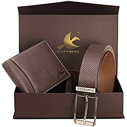 Hornbull Men's Brown Wallet and Belt Combo BW6995