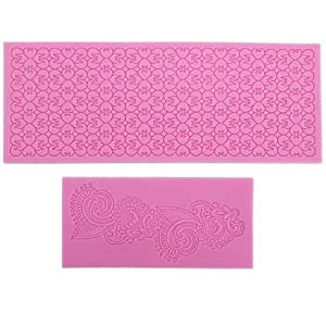 Lace Silicone Fondant Mold Wedding Cake Mould Decoration Baking Tool 5 Styles (Love Heart+Totems)