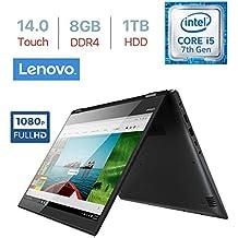 "Lenovo Flex 5 14"" Touchscreen 2-in-1 FHD (1920x1080) IPS Display Laptop PC, Intel Core I5-7200U 2.5GHz, 8GB DDR4 SDRAM, 1TB HDD, Backlit Keyboard, Fingerprint Reader, Bluetooth, WiFi, Windows 10"