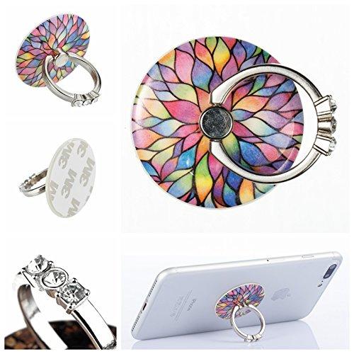 Preisvergleich Produktbild Handyhalterung Handy Ring, Alfort 360° Kristall Griff Halterung Ständer Handy Ring für iPhone, Samsung, Sony, Huawei und Alle anderen Telefone, Tabletten ( Lotus )