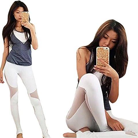 Covermason Women Mesh Patchwork Hollow Out Skinny Leggings Yoga Sport