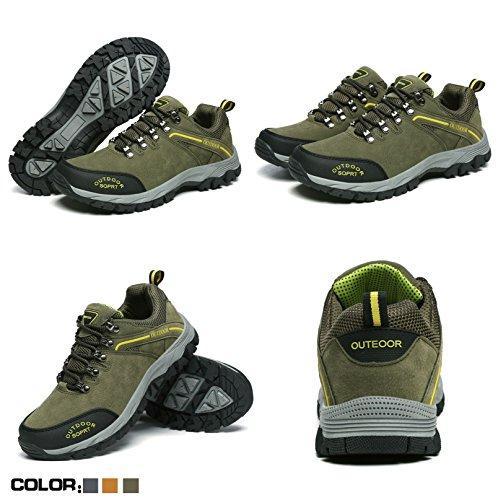 64d44dd86a0 Joyto Trekking Chaussures Homme Randonnée Escalade Sport Marcher Marche  Chaussures De Plein Air Gris Marron Armée ...