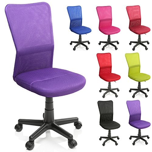 TRESKO Bürostuhl Schreibtischstuhl Drehstuhl, erhätlich in 7 Farbvarianten, mit Kunststoff-Leichtlaufrollen, stufenlos höhenverstellbar, gepolsterte Sitzfläche, ergonomische Passform, Lift SGS-geprüft (Lila) (Mädchen Bürostuhl)