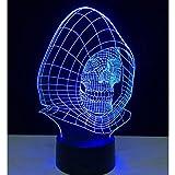 DHYWGS Halloween Skull 3D USB LED Night Light 7 Colori Che cambiano Umore Lampada Pulsante a sfioramento Camera da Letto per Bambini