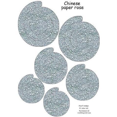 Argento Glitter carta cinese Rose foglio di Julie Hill
