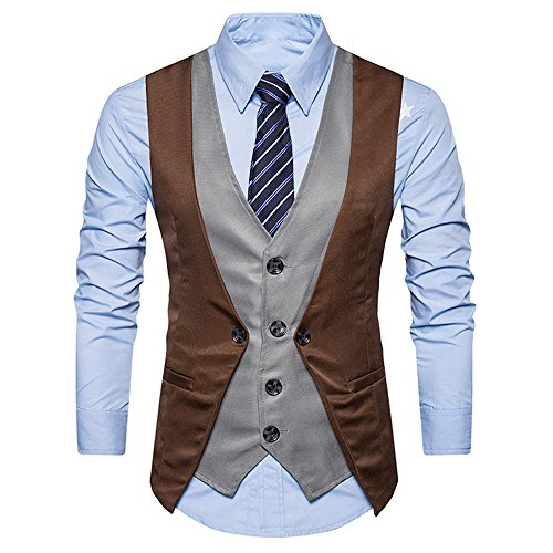 Manadlian Herren Männer Formal Tweed Scheck doppelt Breasted Weste Retro Slim Fit Anzugjacke Retro Hooded Fleece