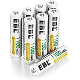 EBL 1100mAh Pile ricaricabili mini stilo AAA Ni-MH ad alta capacità confezione da 8 pezzi con astuccio ricarica da 1200 volte