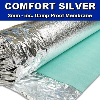 Comfort Silver 3mm Laminate Wood Floor Underlay with Damp Proof Membrane - 1 Roll 15m2 - Novostrat - inexpensive UK flooring store.