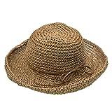 Faltbarer Strand Stroh Sonnenhut Damen Wide Brim Cap - UPhitnis