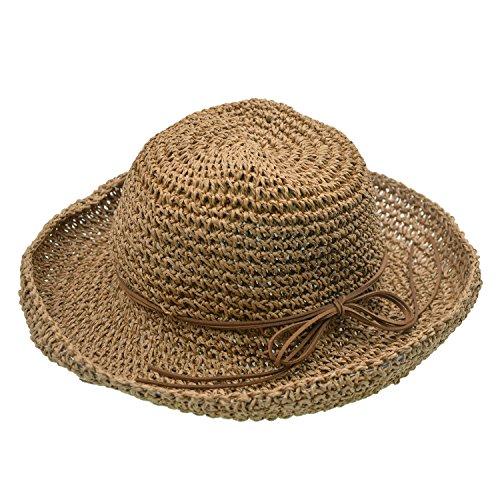 Faltbarer Strand Stroh Sonnenhut Damen Wide Brim Cap - UPhitnis Sommer geflochtenen Damen Sommerhut Flap Cap