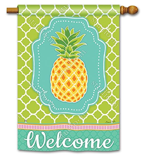 Preppy Ananas tropische Fahne Deko Welcome 71,1x 101,6cm Outdoor House