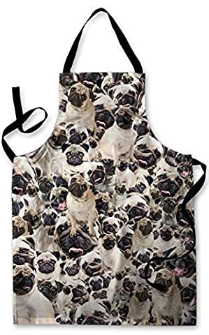 PUGS ALL OVER DESIGN APRON KITCHEN BBQ COOKING PAINTING MADE IN YORKSHIRE