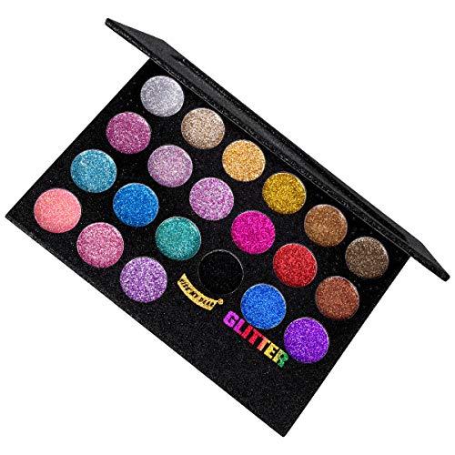 Mineral Eye Color Kit (OZUAR 21 Farben Eyeshadow Glitzer Lidschatten Palette Makeup Kit Set Professionelle Lidschatten Make Up Box für Augen und Lippen)
