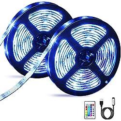 Bande LED USB 6M, OMERIL Ruban LED Etanche 5050 RGB avec Télécommande IR, Ruban Lumineux Réglable 16 Couleurs et 4 Modes pour Maison Décoration, Cuisine, Mariage, Fête etc [2 x 3M]