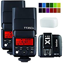 Godox 2 Pack TT350N TTL Hss 2.4GHz Flash with X1T-N Flash Trigger Transmitter for Nikon Cameras - GN36 HSS(Max.1/8000s) 0.1-2.2s Recycle Time 210 Full Power Flashes 22 Steps of Power Output(1/1-1/128) 24-105mm Auto/Manual Zooming