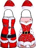 Jovitec Kit de Fiesta de Navidad de 4 Piezas, Incluye 2 Piezas de Delantal de Papá Noel Delantal de Navidad y 2 Piezas de Gorra de Papá Noel Roja para Materiales de Fiesta de Disfraz Navidad