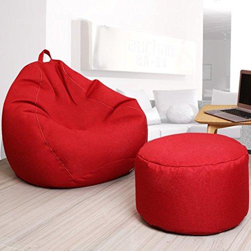 2 pièces haricot sac pouf paresseux unique canapé chaise longue Creative chambre salon petit appartement (Couleur : Rouge, taille : 80 * 90cm)