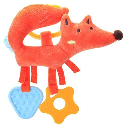 Labebe Infant Baby / Neugeborene Teether, BPA Free Silikon Zahnen Spielzeug / Gummi Massager mit angefüllten Tier, Krippe Hanging Toys für 3-6 Monate, Duschen Geschenk - Orange Fox
