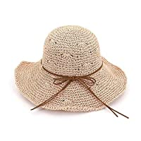 W.S.-YUE Fold up to block the sun with large brims and beach hats Summer hand-crocheted straw hats for ladies with large hollowed-out sun hats that,Humanization Design (Color : Pink)