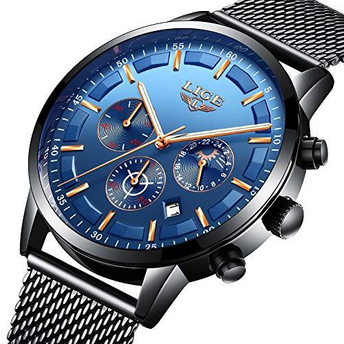 LIGE Herren Uhren Sport Wasserdichte Chronographen Edelstahl Mesh Uhren für Männer Business Kleid mit Mondphase Analoge Quarz-Armbanduhr
