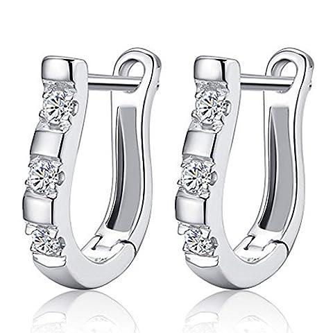 Kim Johanson Damen Creolen Ohrringe aus 925 Sterling Silber mit weißen Zirkonia Steinchen besetzt inkl. Schmuckbeutel