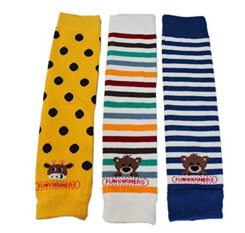 Baby-Beinstulpen, 3er-Pack, Blau gestreift mit Bär/Gelb mit Punkten und Giraffe/Bunt gestreift mit Bär