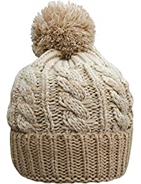 Adults Unisex Chunky Thermal Knitted Contrast Bobble Hat