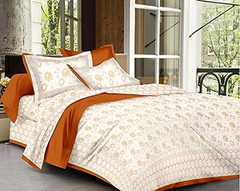 Fecom King size pur coton Couvre-lit double Drap housse de matelas avec 2taies d'oreiller Nouvelle tendance Motif traditionnel Marron