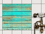 creatisto Küche Bad Fliesenaufkleber Folie Sticker | Fliesendekor Badfliesen Fliesenposter Kellerfliesen | 15x20 cm Muster Ornament Wooden Aqua - 6 Stück