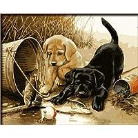 dorara DIY pintura al óleo para adultos niños pintura por número Kit Digital pintura al óleo dos perros jugar diversión 16x 20pulgadas