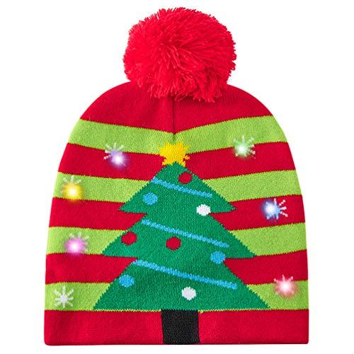 chicolife Unisex Weihnachtsmütze Bunt Aufhellen Weihnachtsmütze Hut Strickmütze für Damen Herren Jungen Mädchen Party/Tanz/Geburtstag