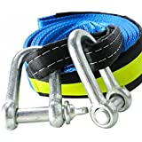 Bibetter Tow Rope High Strength Towing Strap - 5 Maters 8 Ton (16.4' Long 17600 Lb), with Two Safety Hooks & Reflective Strip, Road Recovery Towing Cable Winch Strap