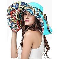 Sombrero para el sol de mujer y niña reversible, plegable, para viajar a la playa, con visera grande, anti rayos-UV, ligero, textura suave, fibra transpirable, Rose, talla única