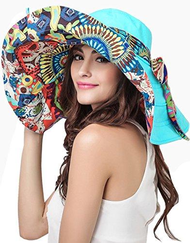 Liyinguk 2016 Nouveauté Chapeau de Plage Coloré Large Bord Anti-UV Sun Hat Brim Vacances Capeline Visière Repliable Randonné/ Cyclisme Printemps Eté Casual Panama Loisir Aux Femme Fille Dame Bleu