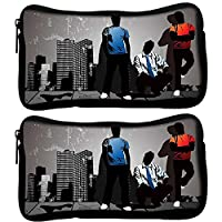 Snoogg Pack Of 2 Three Boys Designer Poly Canvas Student Pen Pencil Case Coin Purse Pouch Cosmetic Makeup Bag