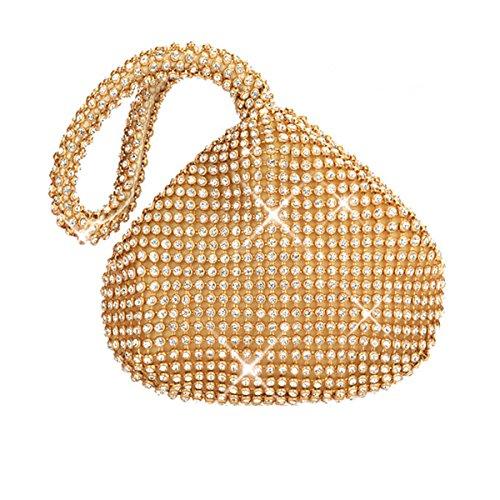 Flada Mädchen und Damen Handtaschen-Abend-Handtasche Strass Kupplungs-Geldbeutel für Prom Hochzeit Party-Gold (Gold-abend-geldbeutel)