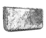 Geldbörse Metallic Look mit Kette Silber