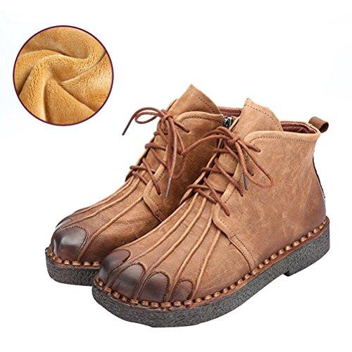 Vogstyle Femmes Main en Cuir Véritable Mère Chaussures Style-1 Toison Brun clair