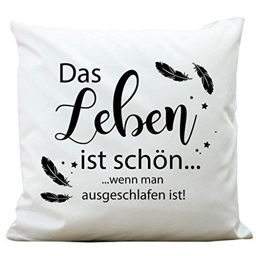 Wandtattoo-Loft ® Bedrucktes Kissen Spruch mit Federn