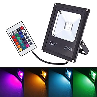 GLW Remote Control 10W RGB LED Flood Light,Outdoor Waterproof Security Colour Changing Light,16 Colours & 4 Modes,Memory Function Wall Washer Lamp produced by Mos lighting - quick delivery from UK.