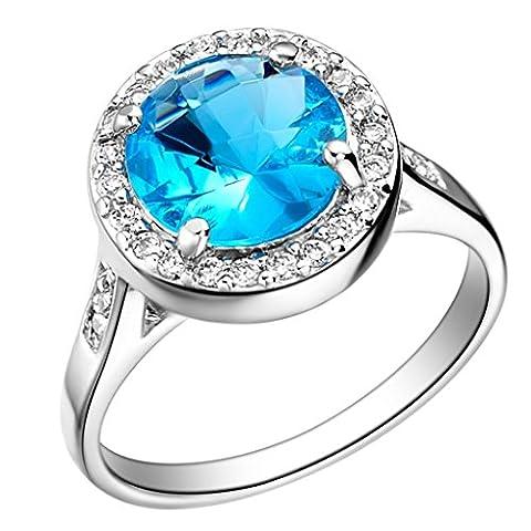 Epinki Damen Ringe 1 Pc, Versilbert Mode Schmuck Ring Damenringe Kreisförmige Sapphire Antragsringe Gr. (Swarovski Sapphire Kreuz)