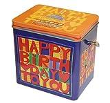 Happy-Birthday-Spieluhrdose gefüllt mit 250g Gebäckmischung. Melodie: Happy Birthday. Dosengröße: 11,8cm x 12 cm x 8,8cm