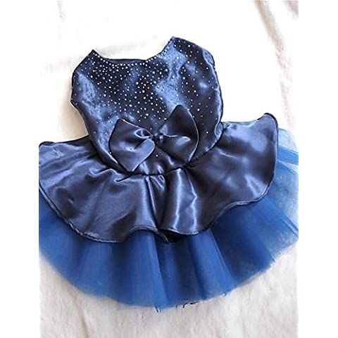 MQZM perro gato Puppy ropa ropa Pet Dress Up - Alimentos para mascotas vestidos para perros rojo / azul / Oro boda verano XS / S / M / L / XL Nylon/algodón , azul-xl , azul-xl