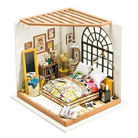 ROBOTIMEWooden Schlafzimmer - Puppen Haus Möbel und Zubehör - Gebäude Puzzle Woodcraft Bau Kit - DIY Miniature Adorable House - Kreatives Geschenk für Mädchen