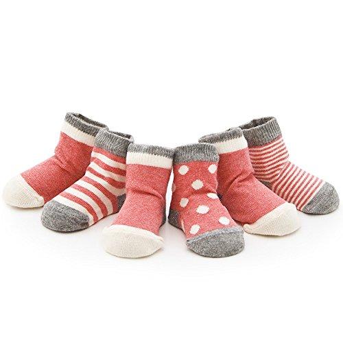Ueither Säugling Baby Kleinkind 4 Sorten Kuschelige und Niedliche Socken für Mädchen und Jungen (4 Paar) (Rosa, XS (0-6 Monate))