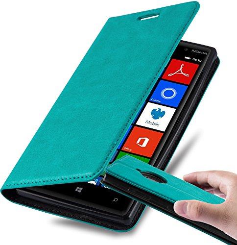 Cadorabo Coque pour Nokia Lumia 830 en Turquoise PÉTROLE - Housse Protection avec Fermoire Magnétique, Stand Horizontal et Fente Carte - Portefeuille Etui Poche Folio Case Cover