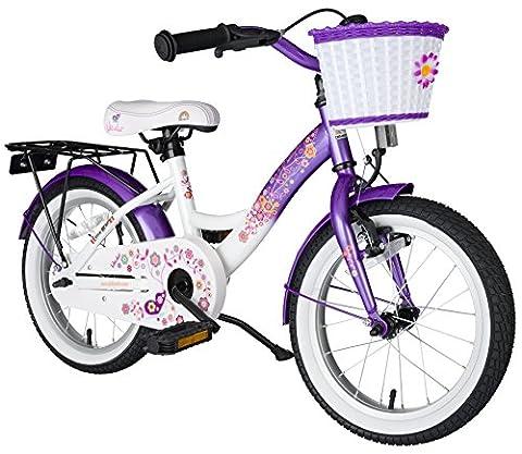 BIKESTAR® Original Premium Kinderfahrrad für sichere und sorgenfreie Spielfreude ab 4 Jahren ★ 16er Classic Edition ★ Candy Lila & Diamant Weiß